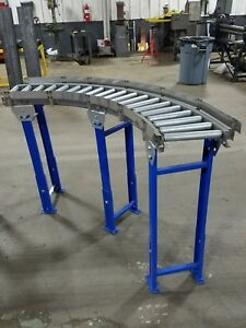Roller Conveyor 90 Curved 12 Wide 3 Curve Roll away Brand 36 Adjust Legs