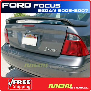 For 05 07 Ford Focus 4dr Sedan Rear Tail Trunk Wing Spoiler Primer Unpainted Abs
