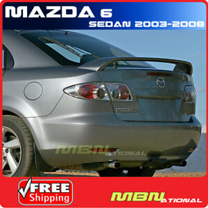 03 08 Mazda 6 4dr Sedan Rear Tail Trunk Wing Spoiler Aero Primer Unpainted Abs