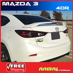Spoiler Wing With Brake Lamp For 14 16 Mazda 3 Sedan Primer Abs Rear Trunk