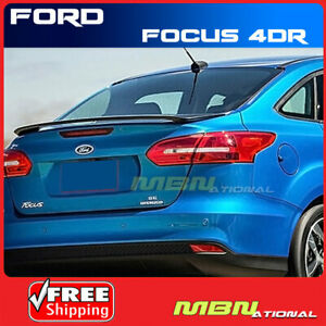 Spoiler Wing For 15 18 Ford Focus Sedan Primer Abs Rear Trunk Lip Bolt On