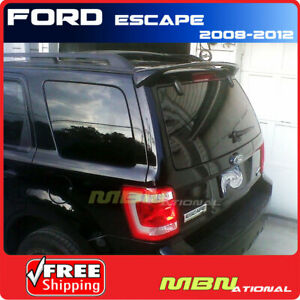 For 08 12 Ford Escape Rear Roof Trunk Spoiler Coat Painted Abs Ua Black