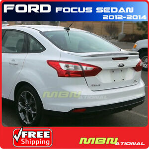 For 2012 Ford Focus Sedan 2 Post Rear Trunk Spoiler Painted Ug White Platinum