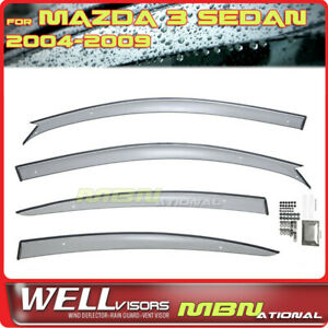 Wellvisors Rain Sun Wind Deflectors Sedan Mazda 3 04 09 Window Visors
