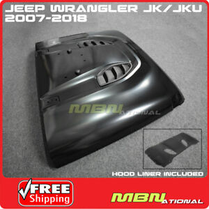 For Jeep Jk Wrangler 07 18 Steel Front Rubicon 10th Anniversary Hard Rock Hood