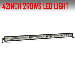Amber 42 Inch 2808w Tri row Led Work Light Bar Dual Color Combo Offroad Suv 4wd