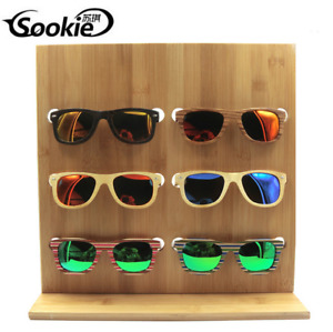 6 Pairs Wooden Sunglasses Eye Glasses Display Rack Stand Holder Organizer Hot