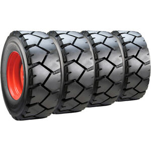 Set Of Carlisle 12x16 5 Ultra Guard Lvt Skid Steer Tires And Wheels Bobcat