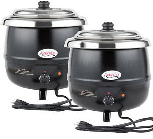 2 Pack Avantco 14 Qt Black Electric Soup Kettle Warmer Commercial Restaurant