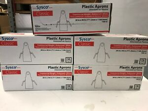 Case Of 500 Sysco Plastic Aprons 28 x46 White Embossed Commercial Free Shipping