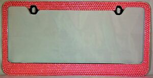 7 Rows Pink Bling Crystal Rhineston License Plate Frame