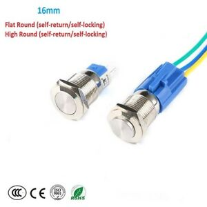16mm 5a Metal Waterproof Momentary Push Button Switch For Car Instrument On off