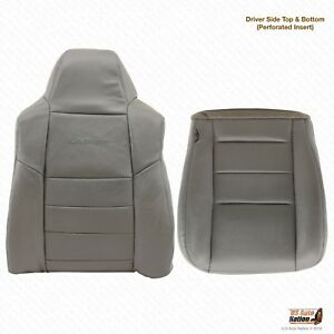 2003 Ford F250 F350 Lariat Driver Bottom lean Back Perforated Leather Cover Gray