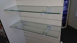 8 X 24 Rectangular 1 4 Clear Tempered Glass Shelf W slat Wall Brackets 2pack