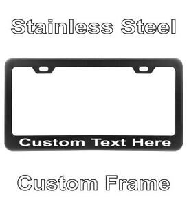 Custom Printed Black Stainless Steel Metal License Plate Frame With Your Text
