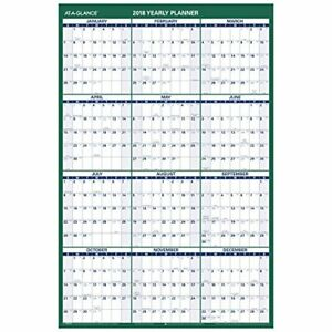 At a glance Wall Calendar 24 X 36 Vertica Erasable Reversible For Notes And
