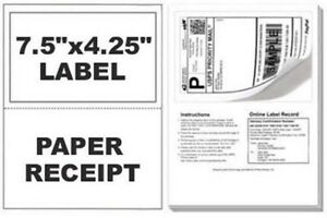 25 Self Adhesive Mailing Shipping Labels W Tear Off Paper Receipt Paypal 6 99