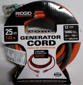 New Ridgid 25 Ft 12 Gauge 5000 Watt 20 Amp 250 Volts 600v stw Generator Cord