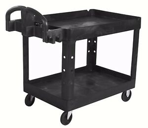 Rubbermaid Heavy Duty 2 Shelf Utility Cart Black 25w X 45d X 33h Black