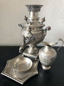 Antique Hand Chased Pahlavi Qajar Solid Silver Miniature Samovar Set