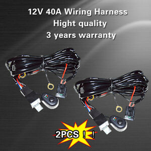 2 Universal Led Light Bar Fog Light Wiring Harness Kit 40a 12v Switch Relay Fuse