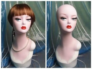 Hand painted Vintage Old fashioned Mannequin Head Wig Jewelry Earing Display