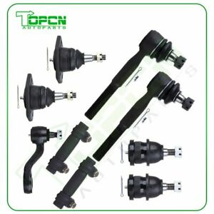 9pcs For 1983 1984 1986 Chevrolet C10 Upper Lower Ball Joints Tie Rod Pitman Arm
