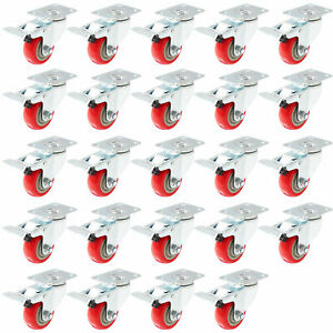 24 Pack Caster Swivel Plate With Brake On Red Polyurethane Wheel 3 With Brake