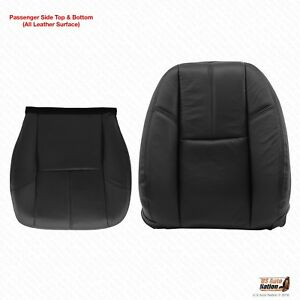 2007 2013 Chevy Avalanche Passenger Bottom Lean Back Black Leather Seat Cover