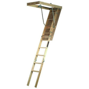 Ladder Fits Wood Attic Stairs 7 8 9 Ceiling Storage Loft Garage Door Pull Down