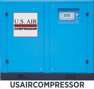 New 50 Hp Us Air Compressor Rotary Screw Vfd Vsd W Trad n Quincy Sullair Etc