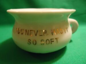 Antique Miniature Porcelain Chamber Pot You Never Had It So Soft Gold Trim