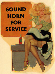 Original Vintage Travel Decal Pinup Gga Service Station Hot Rod Rat Old Risque
