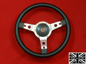 14 Vinyl Steering Wheel Red Stitching Hub Fits Mgb Gt Late 1968 1969