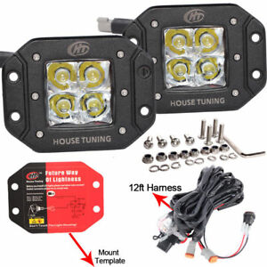 4inch 40w Square Led Cube Pods Light Wiring Harness Kit Flush Mount For Bumper