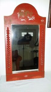 Vintage Tole Painted Red Hanging Wall Mirror With Hunt Scene Horses Dogs Hounds