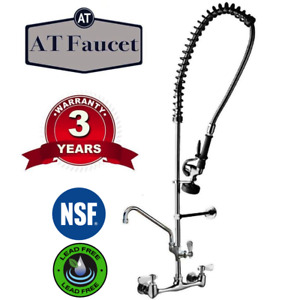 Commercial Kitchen Wall mount Pre rinse Faucet W Add on Faucet 3 Year Warranty
