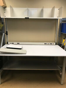 Iac Industries Qs Packing Bench White With Shelves And Lower Shelve