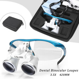 3 5x420mm Dentist Dental Surgical Medical Binocular Loupes Magnifying Glass Blue