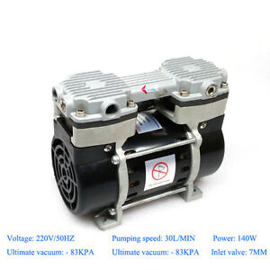 140w Oilless Vacuum Pump 220v With 83kpa Ultimate Pressure 30l min Air Flow