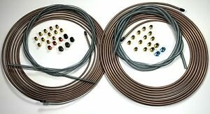 Copper Nickel Brake Line Kit 25 Ft Of 1 4 And 3 16 Rolls W Fittings Armor