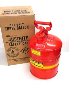New Justrite Mfg 3 gallon Type Ii Safety Gas Can 10720