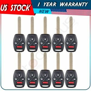 10x Replacement Uncut Remote Keyless Entry Key Fob For Honda Accord Kr55wk49308