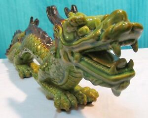 Vintage Porcelain Ceramic Chinese Dragon 22 Inches Nice Colors