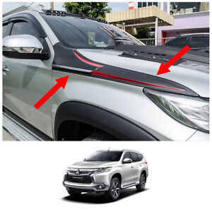 Side Vent Hood Trim Garnish Black Fits Mitsubishi Pajero Montero Sport 16 2017