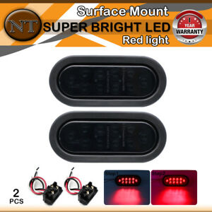 2x Oval Flush Mount Red Stopturn Brake Tail Light 10 Led Smoked Lens For Trailer