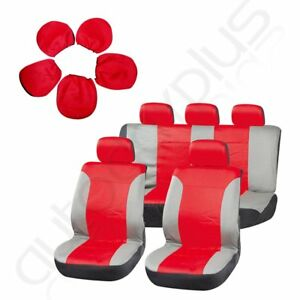 9pcs Red Gray Universal Stretchy Car Seat Covers W Headrest Covers For Porsche