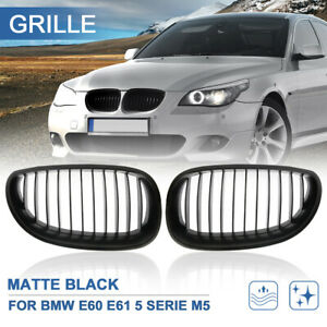 Matte Black Front Kidney Sport Grilles Grill For 03 09 Bmw E60 E61 5 Serie M5
