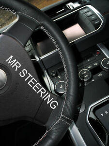 Leather Steering Wheel Cover For Jeep Patriot 2011 Light Grey Double Stitching