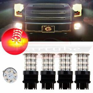 4pcs Cree Led 60 Smd 3157 Red Light Hid Bulb Tail Brake Stop Ultra Lamps